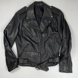 Vintage Firenze Black Genuine Leather Moto Jacket Medium M Buckles Zippers